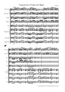 Concerto for Viola, Strings and Basso Continuo in G Major, TWV 51:G9: Full score and parts by Georg Philipp Telemann