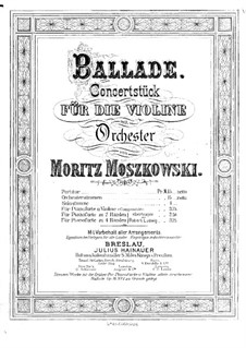 Two Concert Pieces for Violin and Piano, Op.16: No.1 Ballade – solo part by Moritz Moszkowski