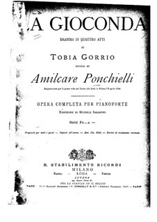 Complete set: Arrangement for piano by Amilcare Ponchielli