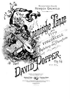 Spanish Dances for Cello and Piano, Op.54: Dance No.5 – score, solo part by David Popper