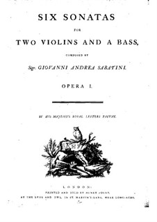 Six Sonatas for Two Violins and Basso Continuo, Op.1: Violin I part by Giovanni Andrea Sabatini