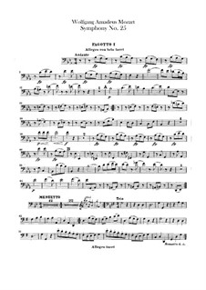 Symphony No.25 in G Minor, K.183: Bassoons parts by Wolfgang Amadeus Mozart