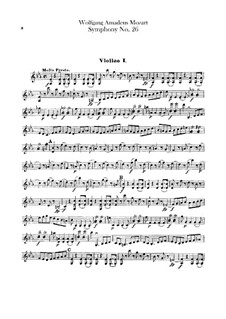 Symphony No.26 in E Flat Major, K.184: Violins part by Wolfgang Amadeus Mozart