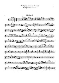 Symphony No.27 in G Major, K.199: Violins part by Wolfgang Amadeus Mozart