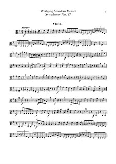 Symphony No.27 in G Major, K.199: Viola part by Wolfgang Amadeus Mozart