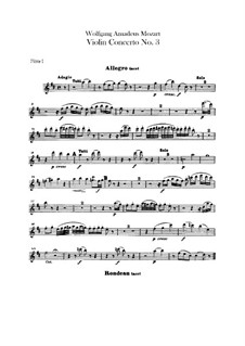 Concerto for Violin and Orchestra No.3 in G Major, K.216: Flutes parts by Wolfgang Amadeus Mozart
