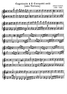Capriccio for Two Cornets (or Two Violins): Capriccio for Two Cornets (or Two Violins) by Johann Vierdanck