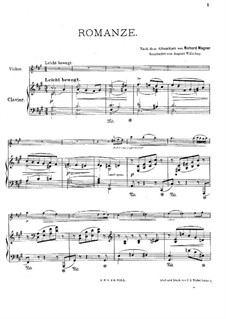 Album Leaf (Romance), WWV 94: For violin and piano by Richard Wagner