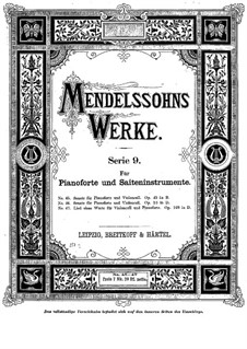 Sonata for Cello and Piano No.1 in B Flat Major, Op.45: Score by Felix Mendelssohn-Bartholdy