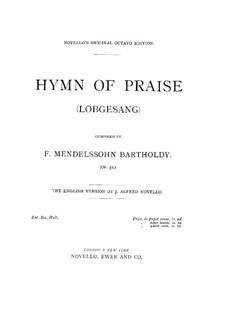 Symphony No.2 in B Flat Major 'Hymn of Praise', Op.52: No.2, for voices and piano by Felix Mendelssohn-Bartholdy