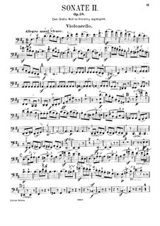 Sonata for Cello and Piano No.2 in D Major, Op.58: Solo part by Felix Mendelssohn-Bartholdy