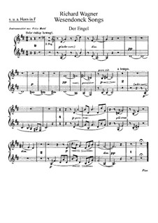 Wesendonck Songs, WWV 91: For voice and orchestra – french horns parts by Richard Wagner