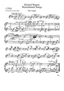 Wesendonck Songs, WWV 91: For voice and orchestra – violins parts by Richard Wagner