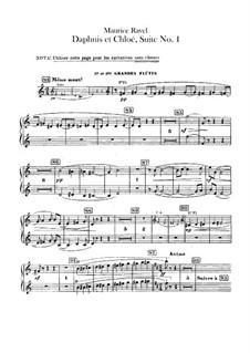Daphnis et Chloé. Suite No.1, M.57a: Flutes parts (Alternate parts to substitute for choir) by Maurice Ravel