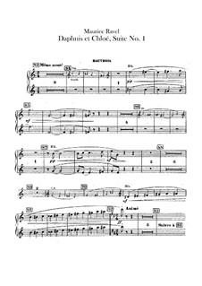 Daphnis et Chloé. Suite No.1, M.57a: Oboes and cor anglais parts (Alternate parts to substitute for choir) by Maurice Ravel