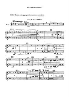 Daphnis et Chloé. Suite No.1, M.57a: Clarinets parts (Alternate parts to substitute for choir) by Maurice Ravel