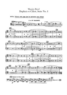 Daphnis et Chloé. Suite No.1, M.57a: Bassoons parts (Alternate parts to substitute for choir) by Maurice Ravel
