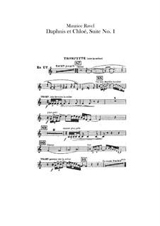 Daphnis et Chloé. Suite No.1, M.57a: Trumpets parts (Alternate parts to substitute for choir) by Maurice Ravel