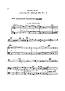 Daphnis et Chloé. Suite No.1, M.57a: Trombones and tuba parts (Alternate parts to substitute for choir) by Maurice Ravel