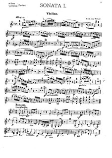 Six Sonatas for Violin and Piano, Op.10: Violin part by Carl Maria von Weber