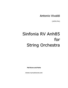 Sinfonia in A Major, Anh.85: For string orchestra by Antonio Vivaldi