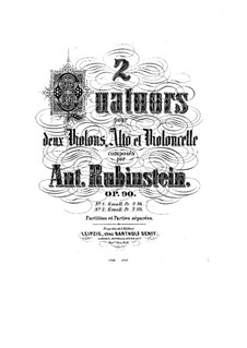 Quartet for Strings No.7 in D Minor, Op.90 No.1: Full score by Anton Rubinstein