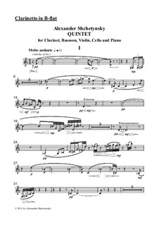 Quintet for clarinet, bassoon, violin, cello and piano: Parts by Alexander Shchetynsky
