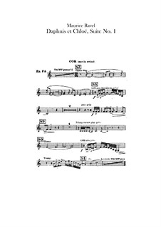 Daphnis et Chloé. Suite No.1, M.57a: French horns parts (Alternate parts to substitute for choir) by Maurice Ravel