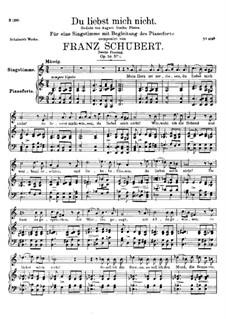 Du liebst mich nicht (You do Not Love Me), D.756 Op.59 No.1: Second version by Franz Schubert