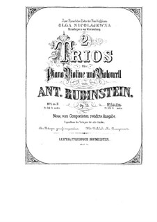Piano Trio No.2 in G Minor, Op.15: Full score, parts by Anton Rubinstein