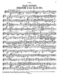Sonatina for Violin and Piano No.1 in D Major, D.384 Op.137: Solo part by Franz Schubert