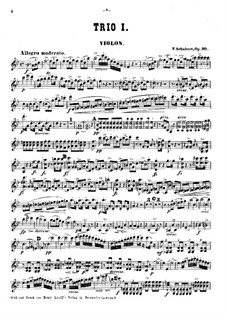 Piano Trio No.1 in B Flat Major, D.898 Op.99: Violin part by Franz Schubert