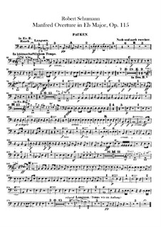 Manfred, Op.115: Overture – timpani part by Robert Schumann