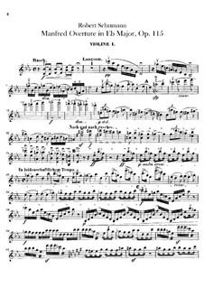 Manfred, Op.115: Overture – violins parts by Robert Schumann