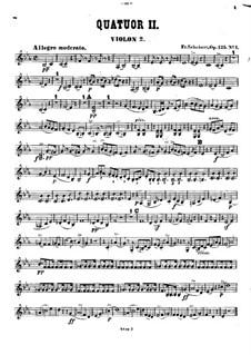 String Quartet No.10 in E Flat Major, D.87 Op.125 No.1: Violin II part by Franz Schubert