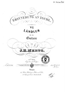 Six Landler, Op.12: For guitar by Johann Kaspar Mertz