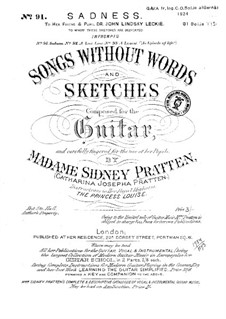 Sadnesst. Songs without words and sketches: Sadnesst. Songs without words and sketches by Catharina Josepha Pratten