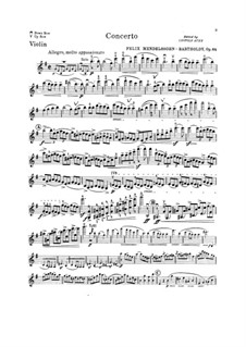 Concerto for Violin and Orchestra in E Minor, Op.64: Violin solo part by Felix Mendelssohn-Bartholdy