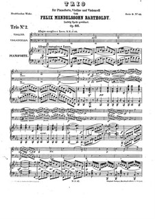 Piano Trio No.2 in C Minor, Op.66: Full score by Felix Mendelssohn-Bartholdy