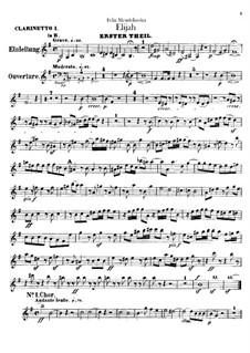 Elijah, Op.70: Clarinets parts by Felix Mendelssohn-Bartholdy