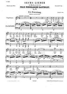 Six Songs, Op.71: Complete set by Felix Mendelssohn-Bartholdy