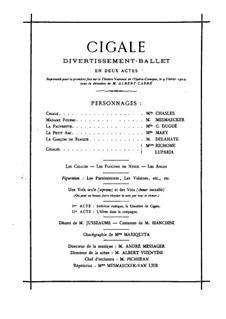 Cigale: Arrangement for piano by Jules Massenet
