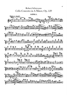 Concerto for Cello and Orchestra in A Minor, Op.129: Flutes parts by Robert Schumann