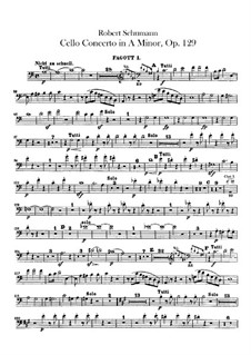 Concerto for Cello and Orchestra in A Minor, Op.129: Bassoons parts by Robert Schumann