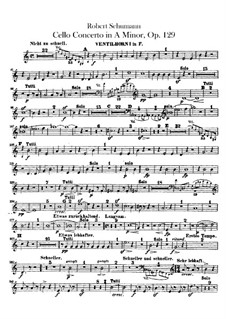 Concerto for Cello and Orchestra in A Minor, Op.129: Horns parts by Robert Schumann