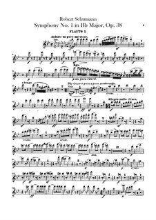 Symphony No.1 in B Flat Major 'Spring', Op.38: Flutes parts by Robert Schumann