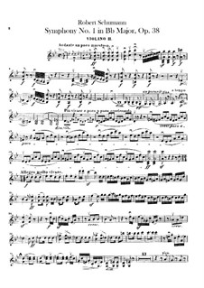Symphony No.1 in B Flat Major 'Spring', Op.38: Violin II part by Robert Schumann