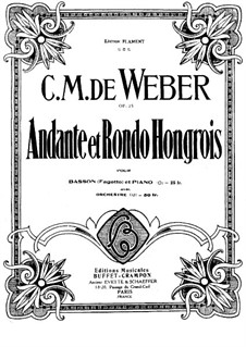 Andante and Hungarian Rondo for Bassoon and Orchestra, J.158 Op.35: Version for bassoon and piano by Carl Maria von Weber