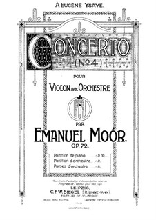 Concerto for Violin and Orchestra No.4, Op.72: Version for violin and piano by Emanuel Moór