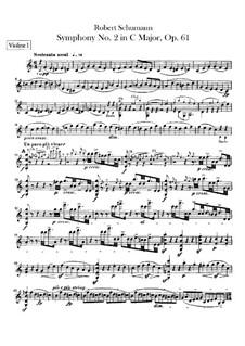 Symphony No.2 in C Major, Op.61: Violin I part by Robert Schumann